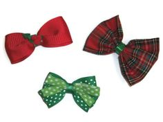 Christmas in July  Red and Green Bows by bowsngifts on Etsy, $4.75