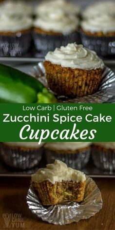 Moist and flavorful low carb zucchini spice cake cupcakes are gluten free with no sugar added. Each is topped with a sugar free cream cheese frosting. | LowCarbYum.com