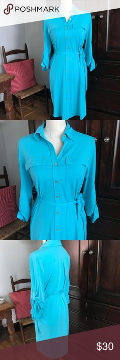 Calvin Klein wrap dress size 6 perfect! Ready to wear. Worn once. Great bright colored wrap dress. Size 6. Has a great amount of stretch to it. Calvin Klein Dresses