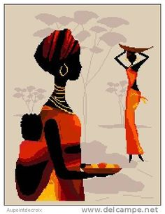 0 point de croix femme africaine et bébé dans son dos - cross stitch african woman with baby on her back