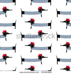French style dog seamless pattern. Cute cartoon parisian dachshund vector illustration. Child drawing style puppy background. French style dressed dog with red beret and striped frock.