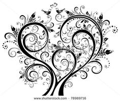 Black And White Blooming Tree Floral Background Ornament