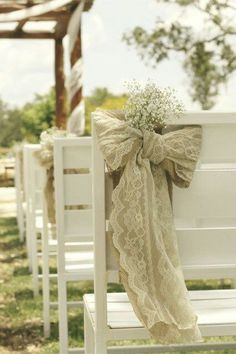 .Burlap and lace bows.