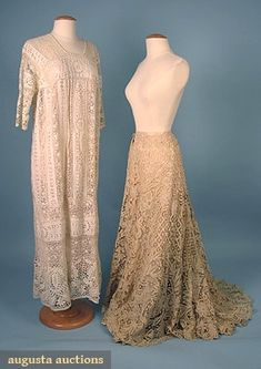 2 Ladies' Handmade Lace Garments, 1900 & 1920, Augusta Auctions, April 2006 Vintage Clothing & Textile Auction, Lot 847