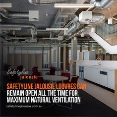 Safetyline Jalousie louvres provide excellent ventilation in workshop areas and operate in tandem with large exhaust fans. Building Management System, Louvre Windows, Indoor Air Quality, Tandem, Cool Designs, Workshop, Fans, Atelier, Followers