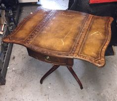 Set Of Vintage Mahogany Leather Top Step End Tables And