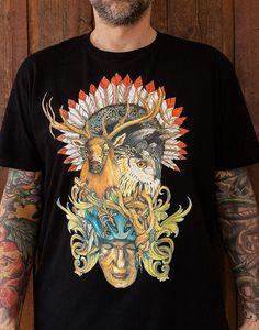 Raztine: Totem black t-shirt, artwear, popshop, silkscreenprinting, lifestyle, illustration, ink