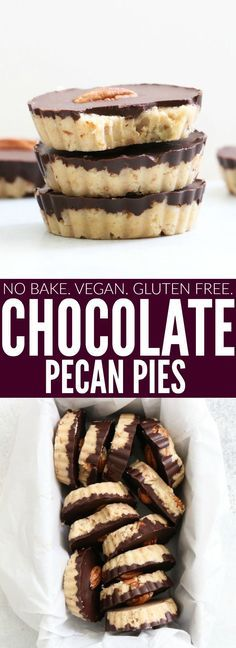 You'll love these No Bake Chocolate Pecan Pies!! I'm obsessed with how delicious + simple they are to make! Plus they're vegan, paleo, and gluten free! thetoastedpinenut.com #vegan #nobake #dessert #glutenfree #recipe