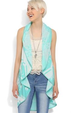 Deb Shops #Mint Aztec Print Sleeveless Waterfall #Cozy with Open Front $13.00