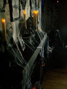 Fireplace to creepy nun .