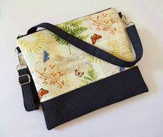 Crossbody Bag, iPhone 7, 6 Plus, iPad mini, Galaxy Note, Large Zipper Bag, Shoulder Bag, Travel Purse - 16 Selections, Ferns, butterfly