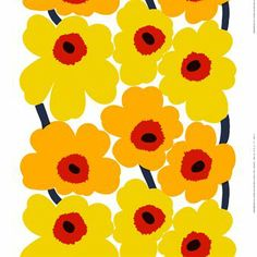 The colorful Unikko fabric in yellow and red from Marimekko is designed by Maija Isola and Kristina Isola. The fabric is made of high quality cotton and fits perfect as curtain or as a nice table cloth. Combine the fabric with other colorful and trendy products from Marimekko to create an interesting and modern look in your home.