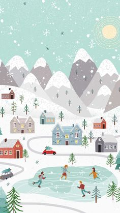 Winter Holiday Phone Wallpaper | Free Phone Background This Christmas |  Folksy Little Snowy Town