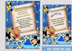 Baby Mickey Mouse - Baby Shower invitation - cards Baby Shower - Free Thank you card by BvStudio on Etsy