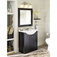 Shop Style Selections Euro Vanity Espresso Belly Bowl Single Sink Bathroom Vanity with Vitreous China Top (Common: 30-in x 17-in; Actual: 30-in x 19-in) at Lowes.com