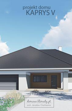"""Projekt domu """"Kaprys V"""" przedstawia dwustanowiskowy dom parterowy, o…"""