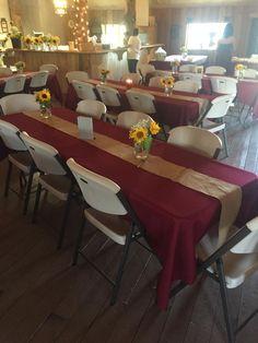 Troll Haven september wedding, antique barn reception. Sunflowers and burgundy