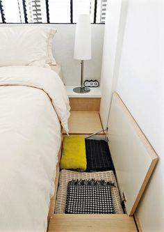 Cute diy bedroom storage design ideas for small spaces 17 Craft Storage Ideas For Small Spaces, Storage Spaces, Creative Storage, Space Saving Storage, Interior Design Ideas For Small Spaces, Space Saving Bedroom, Modern Interior, Small Rooms, Small Apartments