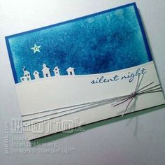 handmade Christmas/winter card: JingleAlltheWay ... luv the gorgeous night sky background created with salt staining technique ...