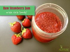 """Easy Raw Strawberry Chia Jam - Nature's NurtureIngredients 1 cup strawberries (fresh or frozen and thawed) 1 tablespoon water (or less, depending on how """"juicy"""" your berries are) 1 tablespoon chia seeds liquid sweetener to taste - honey, maple syrup, stevia, etc. (optional)"""