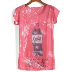 Coke Letter Print T-shirt ($7.90) ❤ liked on Polyvore