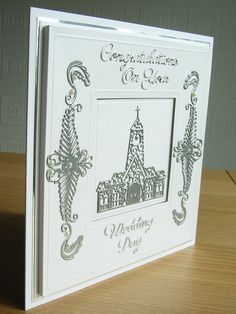 Frame Effect Wedding Card made using the Tattered Lace Venetian Border and Church (D332) dies heat embossed with silver embossing powder. Sentiments cut using Britannia dies.