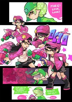 """gomigomipomi: """" Marie: '…ok, but that pose IS cute.' Callie: ' :D ' More Octoling poses. EDIT: Also Marie's hat is tilted according to the official design. Splatoon 2 Game, Splatoon Memes, Nintendo Splatoon, Splatoon Comics, Gomi Gomi, Fire Emblem, Splatoon Squid Sisters, Pearl And Marina, Callie And Marie"""