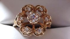Vintage Cluster Ring 18k  HGE  Exquisite by VINTAGEARTJEWELRY, $24.00