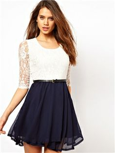 1/2 Sleeve Scoop Neck Lace Shift Chiffon Dress