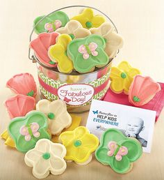 Fabulous Day Frosted Cookie Pail   Giving Back   Cheryls.com   15% of the Net Proceeds from the sale of this product will benefit Nationwide Children's Hospital. Surprise your best friends with a tasty assortment of Cheryl's buttercream frosted flower and butterfly cookies delivered in a shiny silver pail!