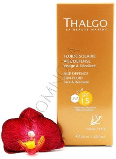 Thalgo Age Defence Sun Fluid -  This anti-aging sunscreen product is for those wishing to sunbathe safely and looking for optimum protection for their face and décolleté, suitable for darker skintones that are already tanned. #Thalgo #sun #tan #fluid #skincare #face #decollete #sunscreen