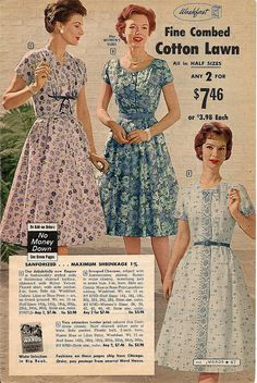 summer cotton frocks from 1959. I like the purple floral!! Edit, I like them all but especially the purple