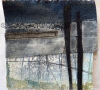 Marshscape Collage #2, Cotton duck, linen, wax, metal, found thread Debbie Lyddon