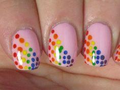 Love this: rainbow dots nail art Fingernail Designs, Nail Polish Designs, Fancy Nails, Pretty Nails, Rainbow Nail Art Designs, Smart Nails, Elegant Nail Designs, Dot Nail Art, Gel Nails