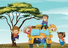 Cartoon School Bus Children Scene - http://www.dawnbrushes.com/cartoon-school-bus-children-scene/