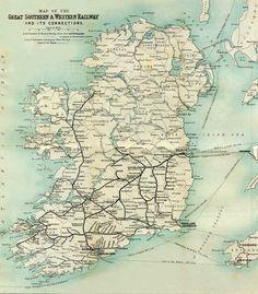 GSWR Ireland route map, circa 1902