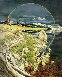 The Sentinel by Bev Dolittle - - - This is beautiful I want to live in a world that looks like her paintings.