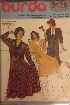RARE VTG 6439 Burda (1985) dress w/sleeve length options.  Size 8-10-12-14-16-18.  Complete, unused, FF. Excellent condition. by ThePatternParlor on Etsy