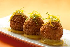 Florida Citrus and Stout-Braised Beef Short Rib Croquettes with Florida Citrus Aioli Meaty Appetizers, Quick And Easy Appetizers, Appetizer Recipes, Snack Recipes, Dinner Recipes, Carrot Recipes, Onion Recipes, Orange Recipes, Meat Recipes