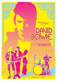 DAVID BOWIE Ziggy Stardust - London Uk - 2 July 1973 - concert live show retro poster artistic