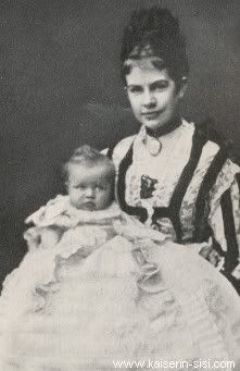 Archduchess Gisela, Princess of Bavaria, daughter of Franz Josef I and Empress Elisabeth of Austria, holding her first-born child, Elisabeth.