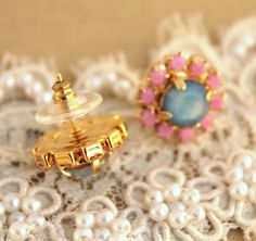 Authentic Handmade 14k Yellow Gold Plated Stud Earrings With Turquoise Stone #Stud