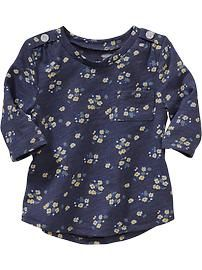 Floral 3/4-Sleeve Tees for Baby
