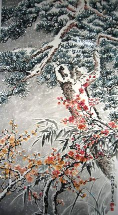bamboo, plum and orchid: Chinese painting Chinese Artwork, Chinese Painting, Oriental Pattern, Pattern Art, Google Images, Plum, Orchids, Bamboo, Birds