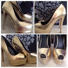 Qupid Gold Open Toes High Heels Size 7.5 This heels have been previously worn a few times, but still in very good condition! Smoke and pet free environment! I will bundle shipping if you purchase more than one item! Please contact me for more info! Thank you! Qupid Shoes Heels