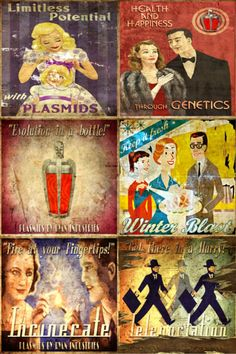 Set of 6 Mini Bioshock Genetics Ad magnets by MyGeekBoutique, $9.95