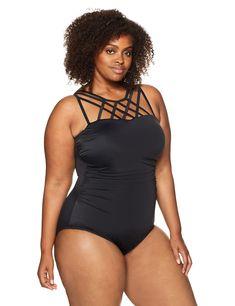 4f168e06db64a Coastal Blue Womens Plus Size Control Swimwear Top Strap Detail One Piece  Swimsuit Black 2X 20W22W