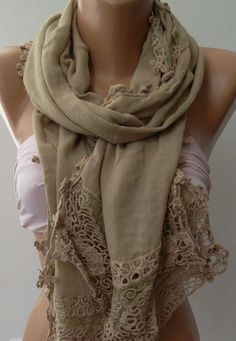 Beige Elegance Shawl / Scarf with Lace Edge by womann on Etsy, $19.90
