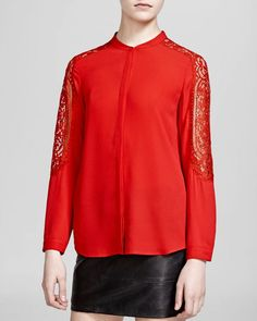The Kooples Shirt - Matte Crepe & Lace Inset