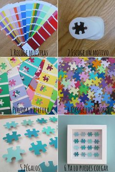 Puzzle art, puzzle crafts, puzzle activities for kids with paint chips and a puzzle piece shaped hole punch! I love this!